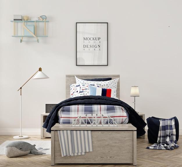 Piękna nowoczesna sypialnia dla dzieci z makietą w ramce plakatowej