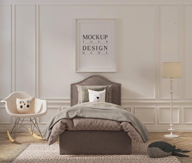 Piękna sypialnia dla dzieci z ramą plakatową makiety