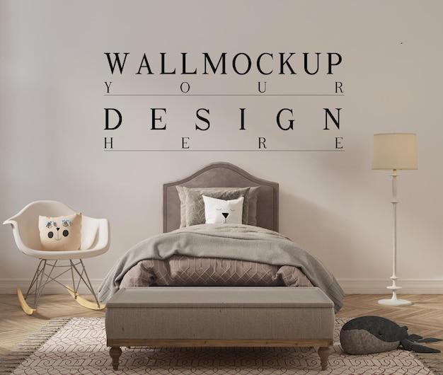 Piękna wycięta sypialnia dla dzieci ze ścianą z makiety