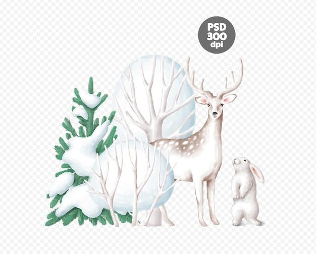 Piękna zimowa scena z jelenia i króliczka na białym tle