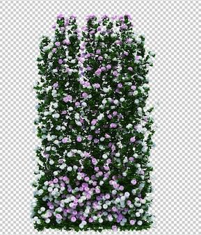 Piękne drzewo pędzla renderowania 3d na białym tle