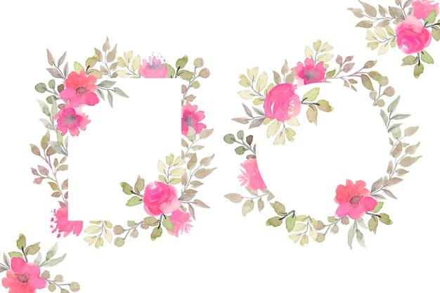 Piękne ramki kwiatowe z kwiatami akwarela
