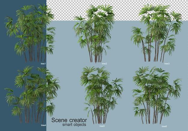 Piękne renderowanie 3d drzew na białym tle