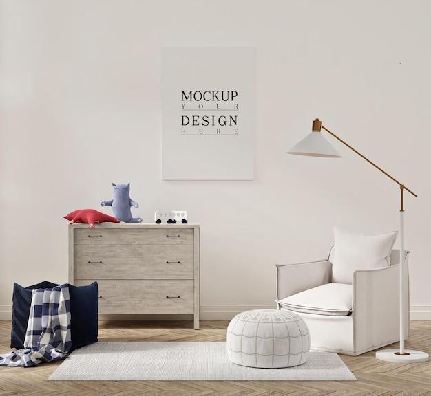 Piękne wnętrze pokoju dziecięcego z rozkładanym fotelem i makietą plakatu