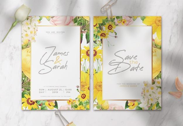 Piękne zaproszenie na ślub z kwiatami