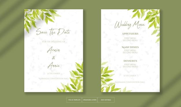 Piękne zaproszenie na ślub z szablonem dekoracji liści akwarela