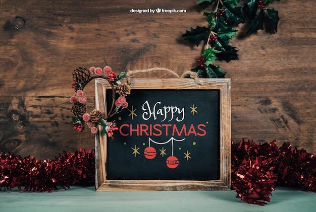 Piękny blackboard mockup z christmtas projektem