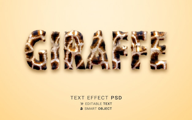 Piękny efekt tekstowy żyrafy