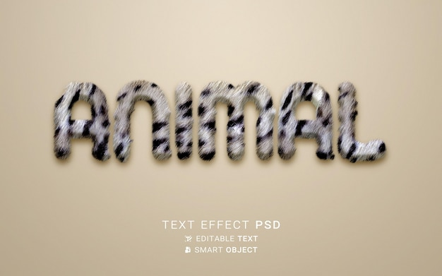 Piękny efekt tekstu zwierzęcego