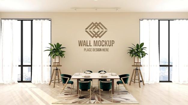 Piękny luksusowy tekst 3d lub makieta logo na ścianie restauracji