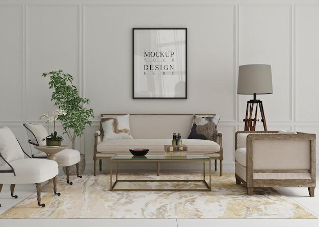 Piękny plakat makiety oprawiony w klasyczny salon z sofą