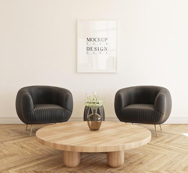 Piękny plakat makiety oprawiony w nowoczesny salon z sofą