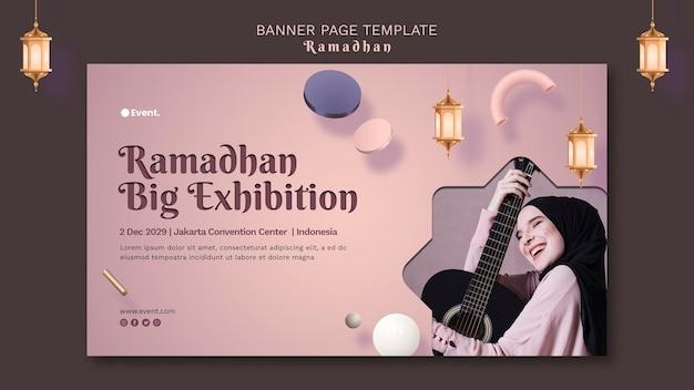 Piękny poziomy baner ramadan ze zdjęciem