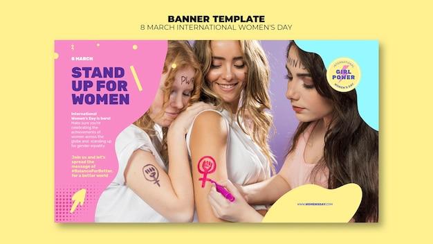 Piękny poziomy baner szablon ze zdjęciem na dzień kobiet