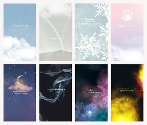 Piękny szablon historii natury psd dla mediów społecznościowych z edytowalną kolekcją tekstów