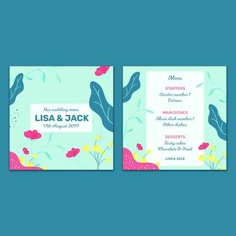 Piękny szablon karty ślubu