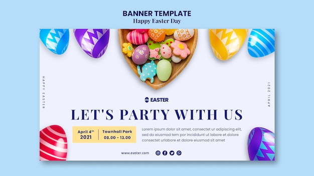 Piękny Szablon Transparent Wydarzenie Wielkanocne Darmowe Psd