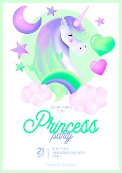 Piękny szablon zaproszenia na przyjęcie księżniczki