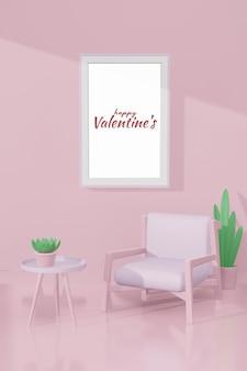 Piękny szczęśliwy pokój walentynkowy z szablonem ramy w makiecie modelu 3d