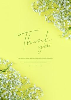 Piękny wiosenny sztandar kwiaty, dziękuję słowo