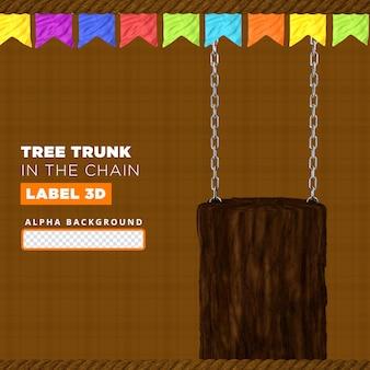 Pień drzewa w składzie łańcucha