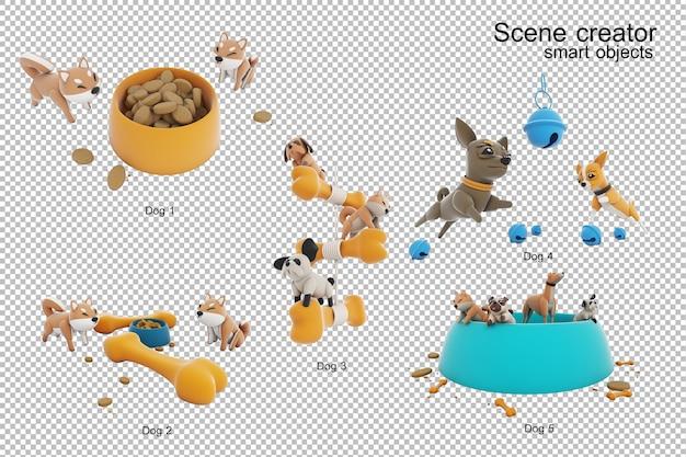 Pies aktywność 3d ilustracja na białym tle na białym tle