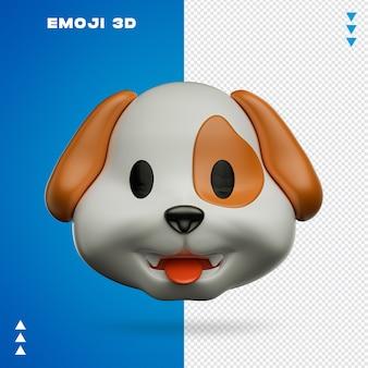 Pies emoji w renderowaniu 3d na białym tle