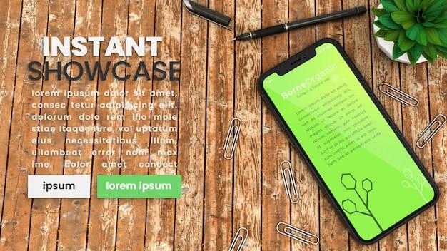 Piksel idealny makieta iphone x na rustykalnym drewnianym stole z materiałów biurowych, roślin i szablon tekstowy psd makieta