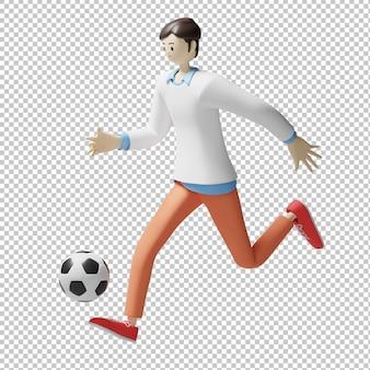Piłka nożna 3d ilustracja projekt renderowania izolowanego charakteru