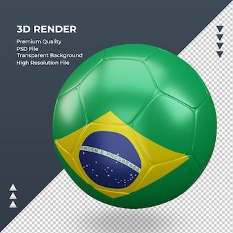 Piłka nożna flaga brazylii realistyczne renderowanie 3d prawy widok
