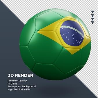Piłka nożna flaga brazylii realistyczne renderowanie 3d widok z lewej strony