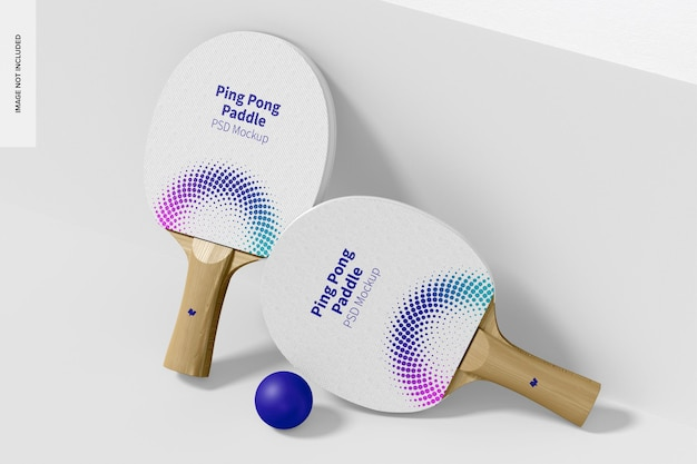 Ping pong paddles mockup, pochylony
