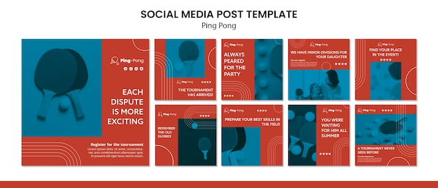 Ping pong social media szablon koncepcji postu