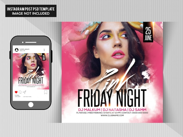 Pink friday night party flyer
