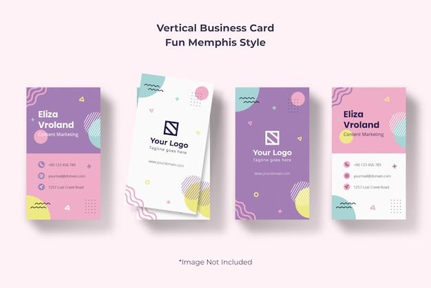 Pionowa agencja kreatywna wizytówka proste memphis streszczenie nowoczesne