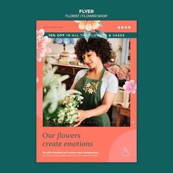 Pionowa ulotka dla kwiaciarni