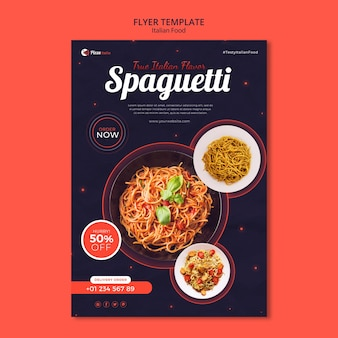 Pionowa ulotka dla restauracji włoskiej