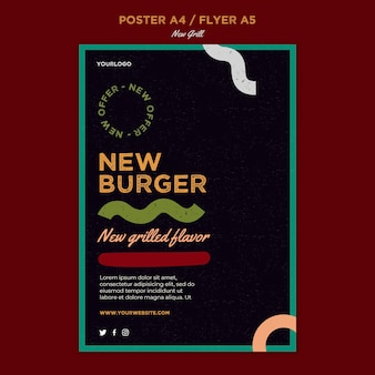 Pionowa ulotka dla restauracji z burgerami
