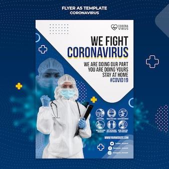 Pionowa ulotka informująca o koronawirusie
