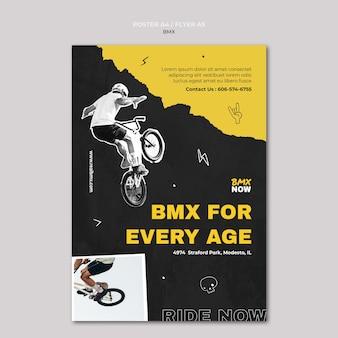 Pionowa ulotka na rower bmx z człowiekiem i rowerem