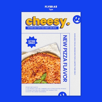 Pionowa ulotka przedstawiająca nowy serowy smak pizzy