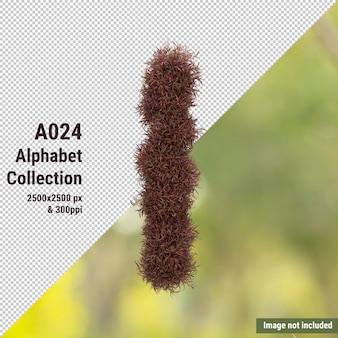 Pionowy alfabet czerwonego drzewa ogrodowego i zielonych, białych liści