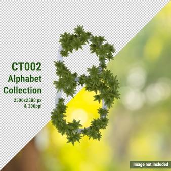 Pionowy alfabet drzewa kokosowego i zielonych, białych liści