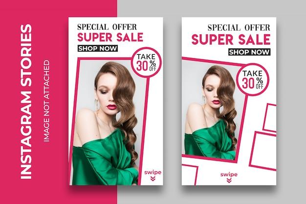 Pionowy baner sprzedaży lub szablon historii instagram dla sklepów z modą