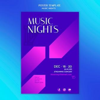 Pionowy gradientowy plakat na festiwal nocy muzycznych