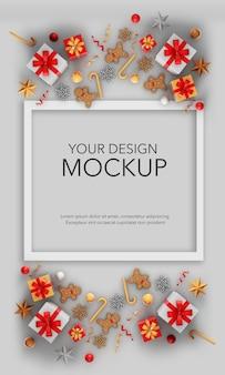 Pionowy obraz karty z prezentami i ozdobami świątecznymi, makieta
