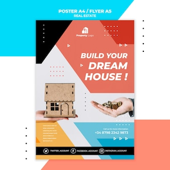 Pionowy plakat dla agencji nieruchomości