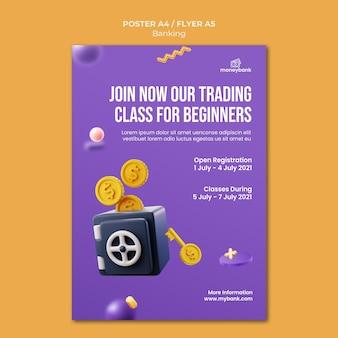 Pionowy plakat dla bankowości internetowej i finansów