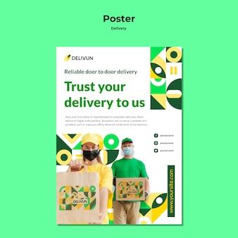 Pionowy plakat dla firmy kurierskiej