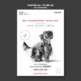 Pionowy plakat dla firmy zajmującej się pielęgnacją zwierząt